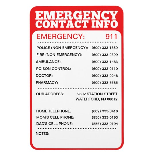 Emergency Contact Information List Magnet