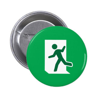 Emergency exit sign novelty pinback button