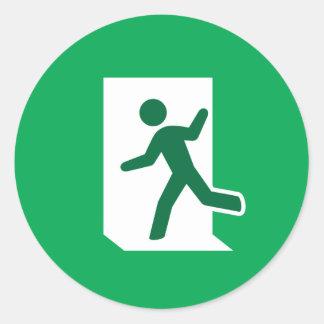Emergency exit sign round sticker