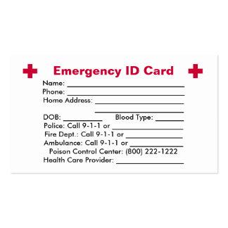 Emergency Id Card Business Cards Emergency Id Card