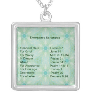Emergency Information Scriptures for Encouragement Square Pendant Necklace