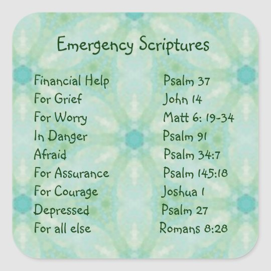 Emergency Information Scriptures for Encouragement Square Sticker