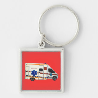 emergency medical Silver-Colored square key ring
