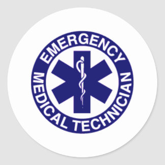 EMERGENCY MEDICAL TECHNICIANS EMT ROUND STICKER