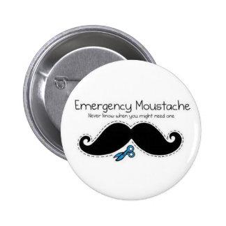 Emergency moustache 6 cm round badge