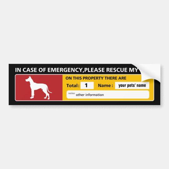Emergency Sticker (great dane) Bumper Sticker
