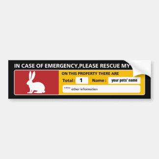 Emergency Sticker (rabbit) Bumper Sticker