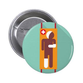 Emergency stretcher Vector Illustration 6 Cm Round Badge
