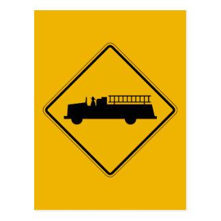 Emergency Vehicle Warning, Traffic Sign, USA Postcard