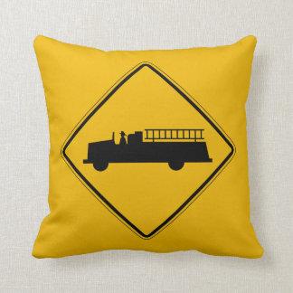 Emergency Vehicle Warning, Traffic Sign, USA Throw Pillow