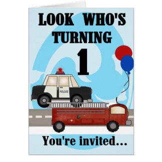 Emergency Vehicles 1st Birthday Invitation Note Card