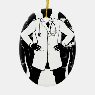 Emergency Workers Team Silhouettes Ceramic Oval Decoration