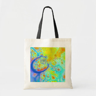 Emerging Galaxies – Teal & Lime Currents Canvas Bags
