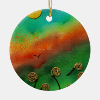 Emerging Snail flowers Round Ceramic Decoration