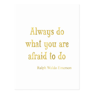 Emerson Quote Gold Faux Glitter Inspirational Postcard