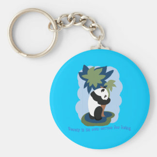 Emerson Quote with Endangered Panda Basic Round Button Key Ring