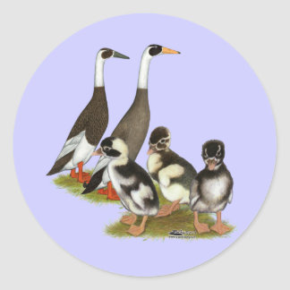 Emery Penciled Runner Duck Family Round Sticker