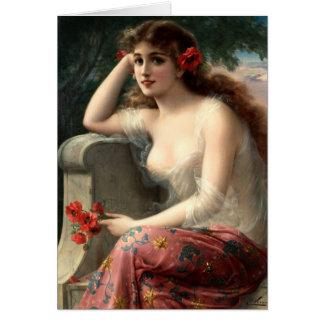 Emile Vernon Girl with a Poppy Card