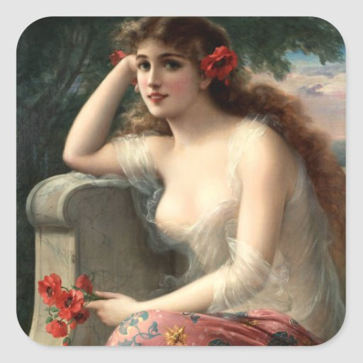 Emile Vernon Girl with a Poppy Stickers