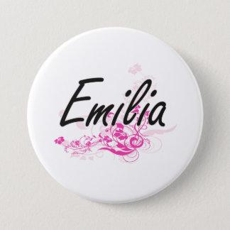Emilia Artistic Name Design with Flowers 7.5 Cm Round Badge