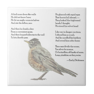 """Emily Dickinson """"In the Garden"""" Poem Small Square Tile"""