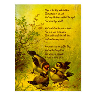 Emily Dickinson Vintage Painted Sparrows Postcard