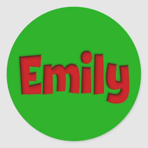 Emily Green and Red Cutout Round Sticker