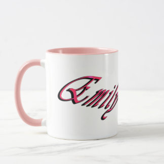 Emily, Pink Cursive Logo, Pink Combo Coffee Mug