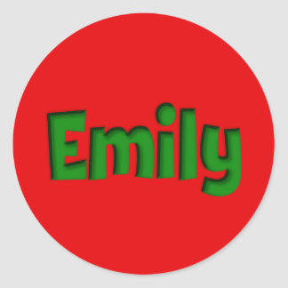 Emily Red and Green Cutout Round Sticker