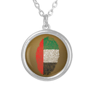 Emirate touch fingerprint flag silver plated necklace