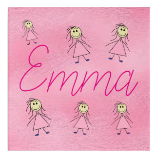 Emma Baby Girl's Name Cute Stick Girls Pink Acrylic Print