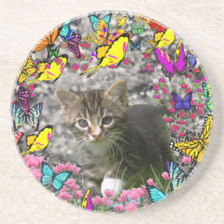 Emma in Butterflies I - Gray Tabby Kitten Coaster