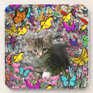 Emma in Butterflies I - Gray Tabby Kitten Coasters