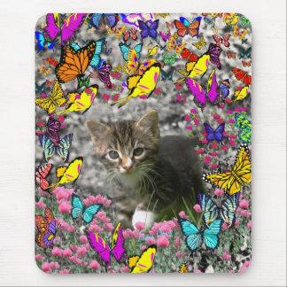 Emma in Butterflies I - Gray Tabby Kitten Mousepad