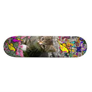 Emma in Butterflies I - Gray Tabby Kitten Skate Board Deck