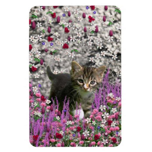 Emma in Flowers I – Little Gray Kitten Rectangle Magnet