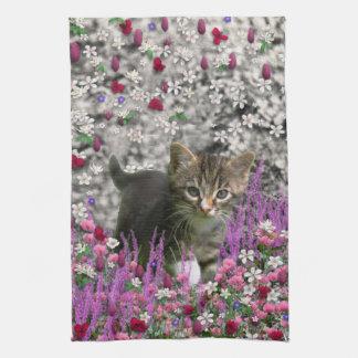 Emma in Flowers I – Little Gray Kitten Tea Towel