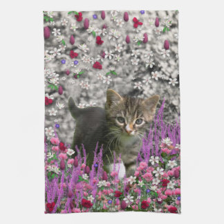 Emma in Flowers I – Little Gray Kitten Towel