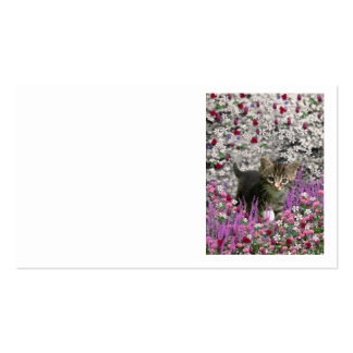 Emma in Flowers I – Little Gray Kitty Cat Business Card Templates
