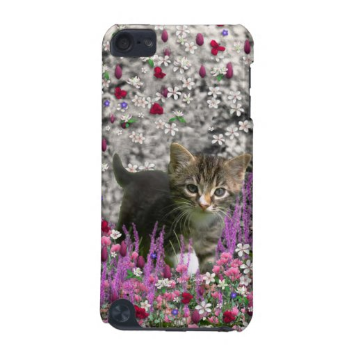 Emma in Flowers I – Little Gray Kitty Cat iPod Touch (5th Generation) Cases