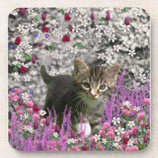 Emma in Flowers I – Little Gray Kitty Cat Drink Coasters