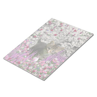 Emma in Flowers I – Little Gray Kitty Cat Memo Pad
