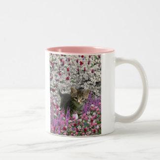 Emma in Flowers I – Little Grey Tabby Kitten Two-Tone Coffee Mug