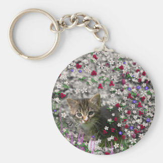 Emma in Flowers II, Little Gray Tabby Kitty Cat Basic Round Button Key Ring