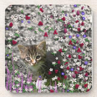 Emma in Flowers II Little Gray Tabby Kitty Cat Drink Coaster