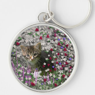 Emma in Flowers II, Little Gray Tabby Kitty Cat Silver-Colored Round Key Ring