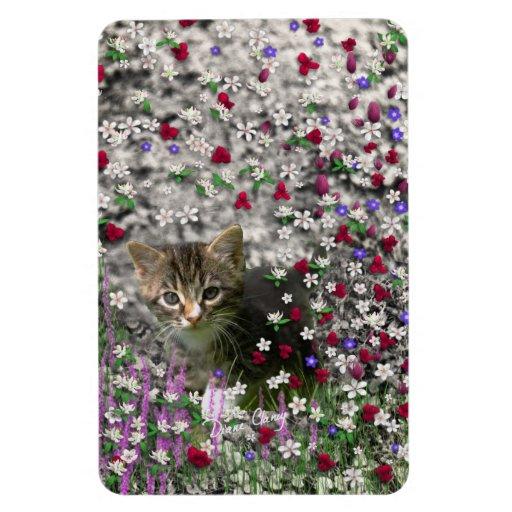 Emma in Flowers II, Little Gray Tabby Kitty Cat Flexible Magnets