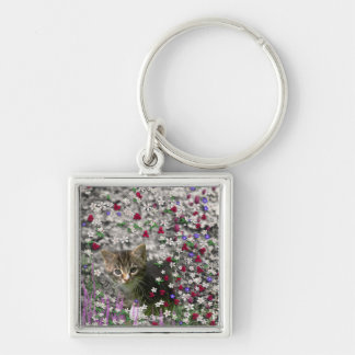 Emma in Flowers II, Little Gray Tabby Kitty Cat Silver-Colored Square Key Ring