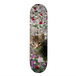 Emma in Flowers II Little Gray Tabby Kitty Cat Skateboard Deck