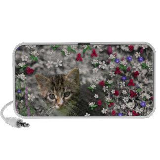 Emma in Flowers II Little Gray Tabby Kitty Cat Mini Speaker